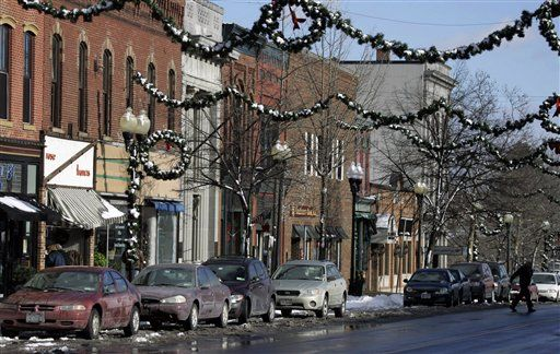 """""""Merry Christmas, you wonderful old Building & Loan!"""" US Route 20 in Seneca Falls, NY. Considered the basis for Bedford Falls in """"It's a Wonderful Life."""""""