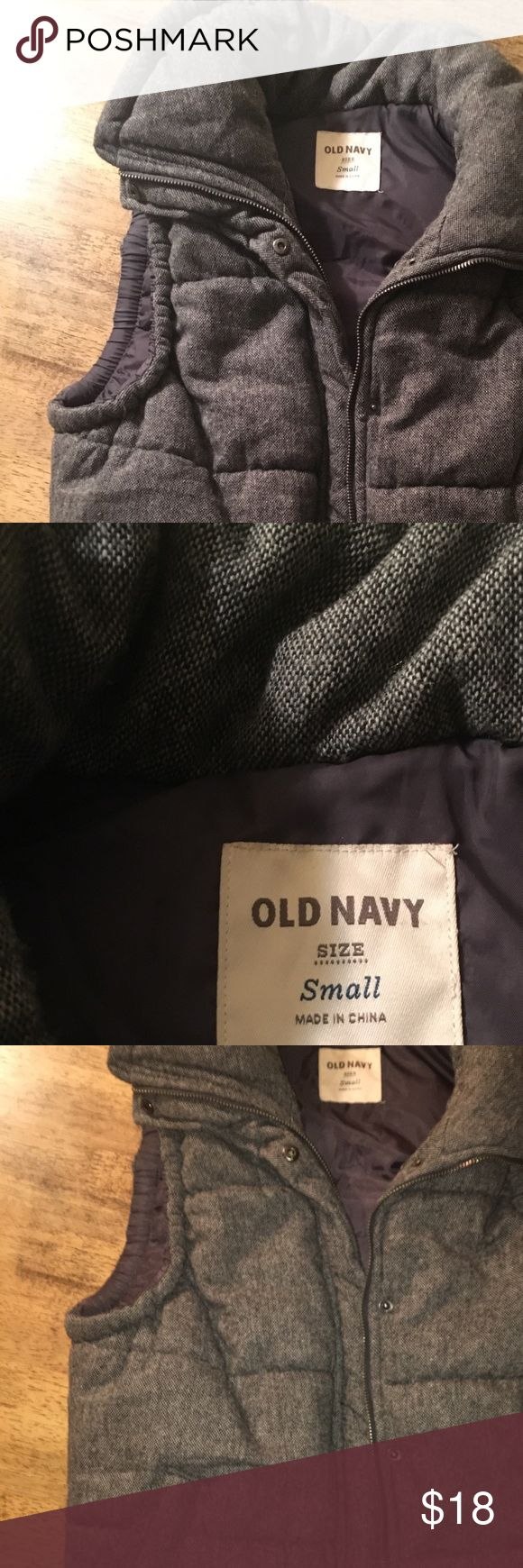 Old navy vest Old navy vest gray tweed vest size small. Worn maybe two times! Old Navy Jackets & Coats Vests