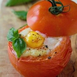 Baked egg in tomato, simple and diet friendly breakfast.