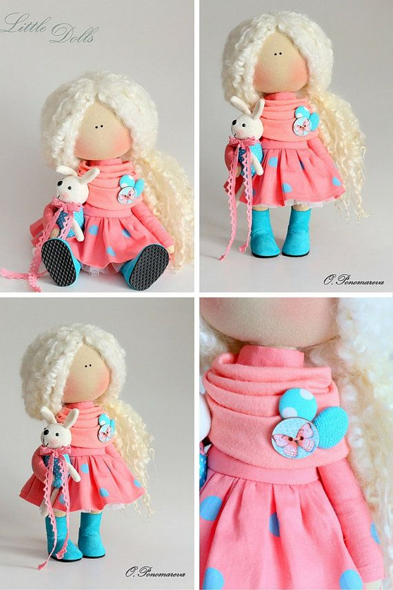 Curly doll Fabric doll Tilda doll coral by AnnKirillartPlace