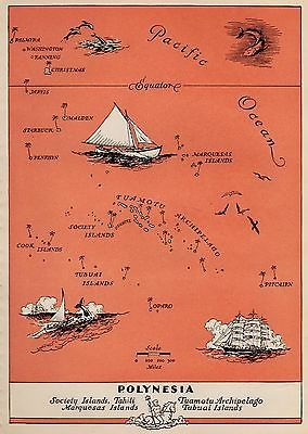 Charming Polynesia Map Fun and Funky 1945 Pacific Islands Picture Map Tahiti | eBay