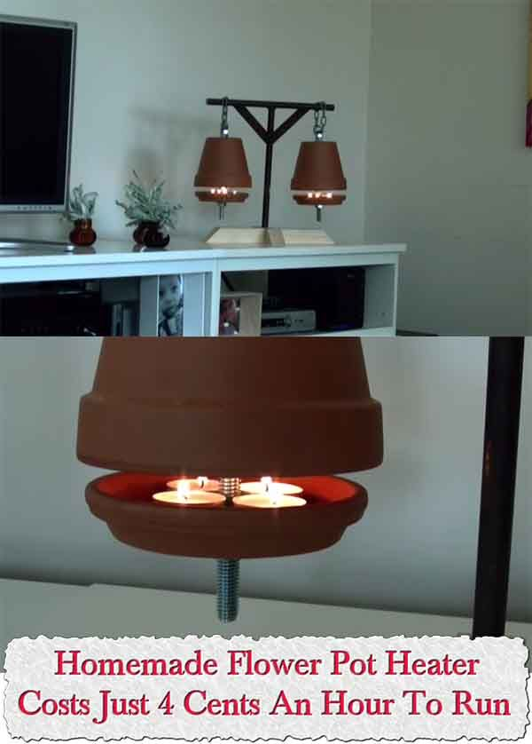 Homemade Flower Pot Heater - Costs Just 4 Cents An Hour To Run Now this is a great way to heat up a small room or if you have a larger room use 2 of them t