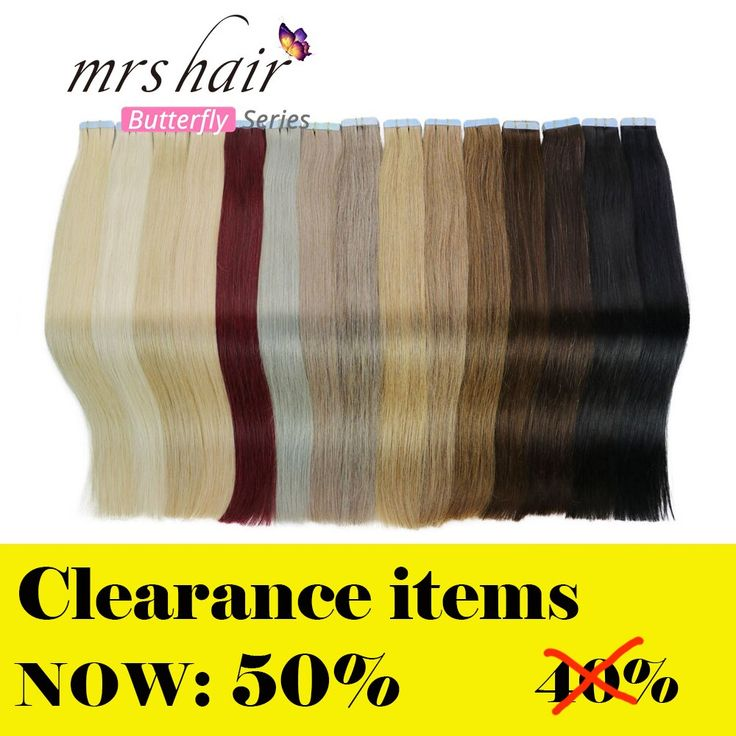 MRS HAIR Tape In Human Hair Extensions 14″-24″…