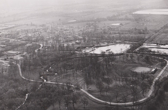 aerial view of Artesian Park, Clinton, MO late 60s or early 70s