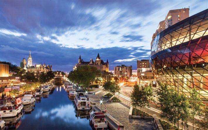 Télécharger fonds d'écran Ottawa, capitale du Canada, le soir, les lumières de la ville, la Rivière des outaouais, Canada