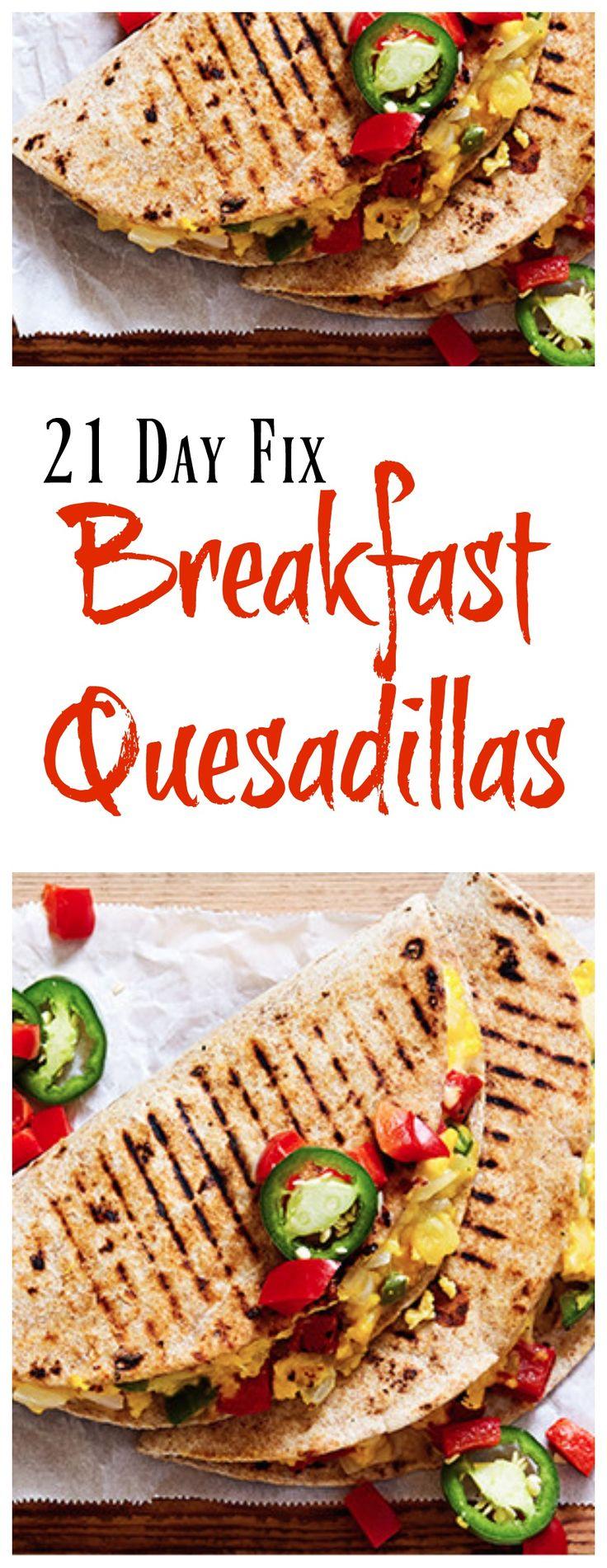 21 Day Fix Breakfast Quesadillas 1 Quesadilla/serving 1 1/2 Yellow 1/2 Green 1/2 Red 1/2 Blue 1/2 tsp