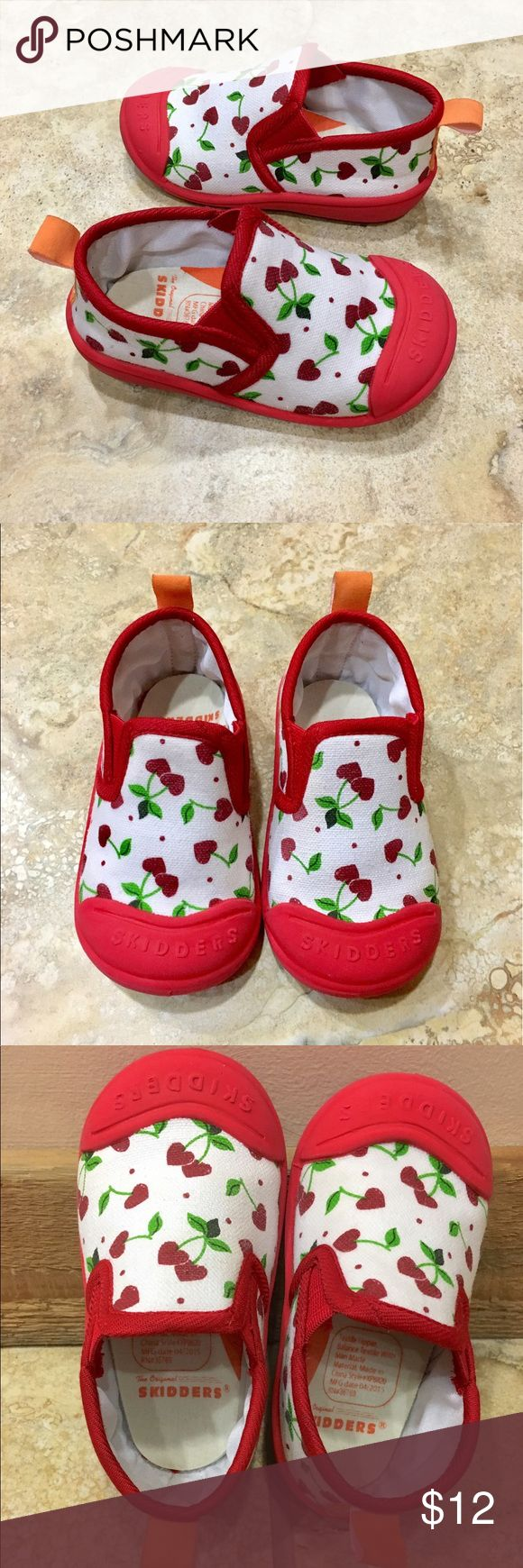 Skidders Toddler Cherry Heart Shoes (24 Months) Super cute slip on canvas shoes with great traction. My daughter wore only a couple times so in EUC. Size 8 (24 Months). These are great for wide toddler feet too! Skidders Shoes Sneakers