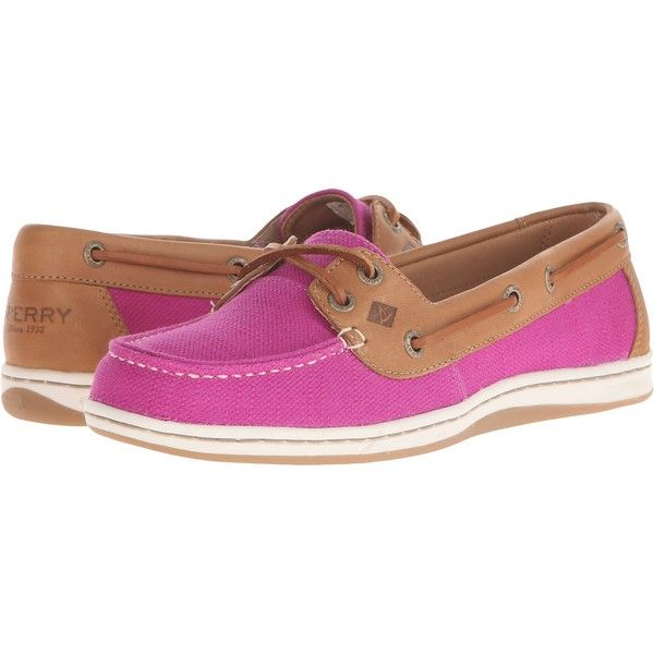 Sperry Top-Sider Firefish Nubby Canvas (Bright Pink) Women's Lace up... ($43) ❤ liked on Polyvore featuring shoes, pink, slip on shoes, laced shoes, lace up shoes, nautical shoes and canvas lace up shoes