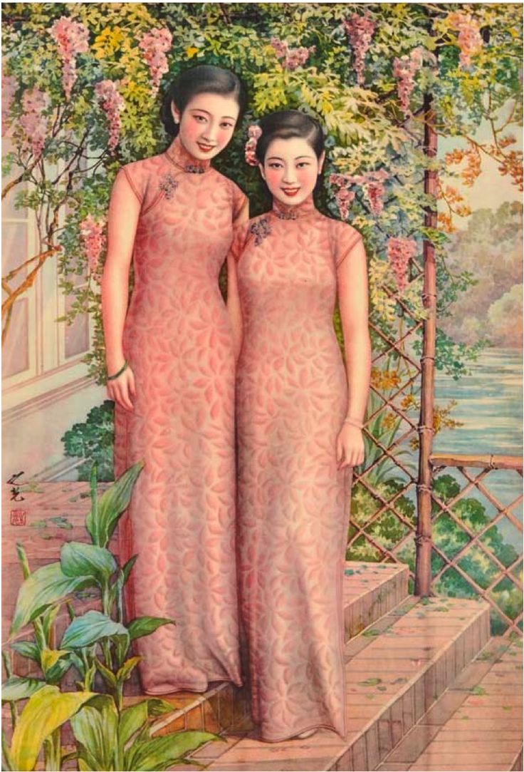 Shanghai, 1930s art deco poster of two women wearing matching qipao/cheongsam