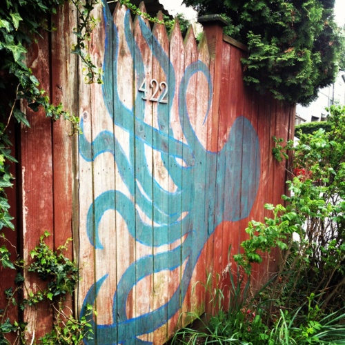 Seattle hand painted octopus gate and wooden fence you for Fence painting ideas
