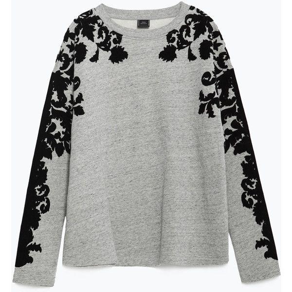 Zara Plush Flocked Sweatshirt (325 MXN) ❤ liked on Polyvore featuring tops, hoodies, sweatshirts, sweaters, grey marl, gray sweatshirt, zara sweatshirt, grey top, embellished sweatshirt and zara tops