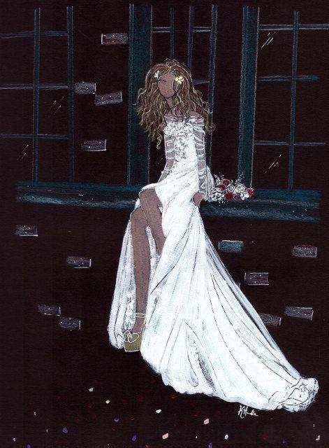 "Aria Gown Galia Lahav -ORIGINAL - 8""x10"" - Wall Art - Bridal Illustration - Contact for Custom by KristinaHerediaArt on Etsy"