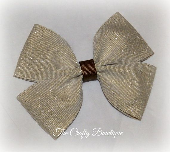 Glitter Boutique Bow  Khaki Hair Bow  Brown by TandRCraftyBowtique