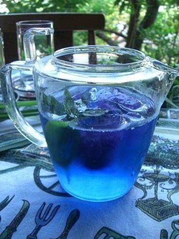 実は、水だしの方が長く鮮やかなブルーを楽しむことができるので、「もっと青を楽しみたい!」という方には、水出しをおすすめします!深い海を想わせるこの青さは、暑い夏などにもぴったりですね!氷を入れてアイスでどうぞ♪