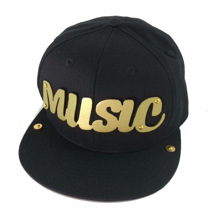 Kids Music Gold (or Silver) Metal Plate Black Snapback Baseball Cap