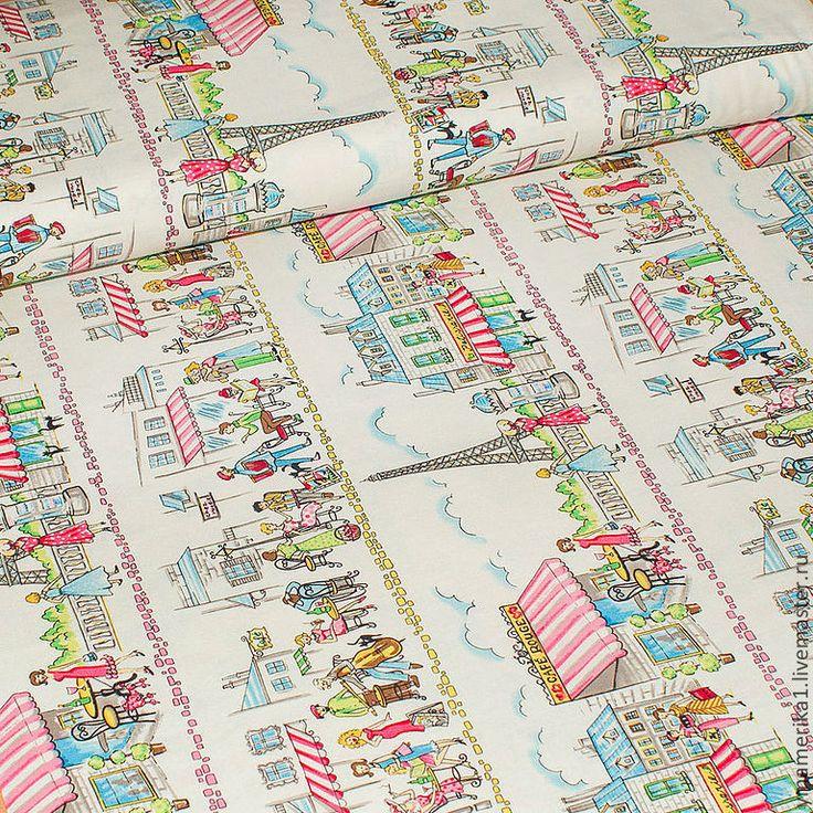 Купить Американский хлопок ПАРИЖАНКА ретро-мода - рисунок на ткани, городской стиль, девушки, девушка