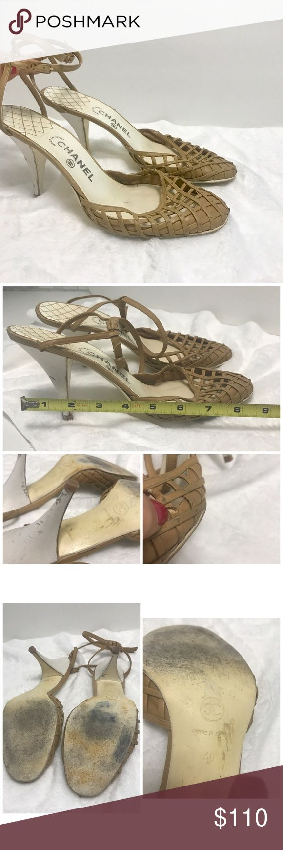 Chanel Authentic Tan Creme Shoes 40 Chanel Tan Creme Shoes 40 see measurements in listing. Shows signs of wear on shoes. Heels tear and marked.  soles insoles and on leather a small tear. Nothing a cobbler couldn't handle. Still pretty. Price reflects.  Please know your euro size. I measured in photo CHANEL Shoes Heels