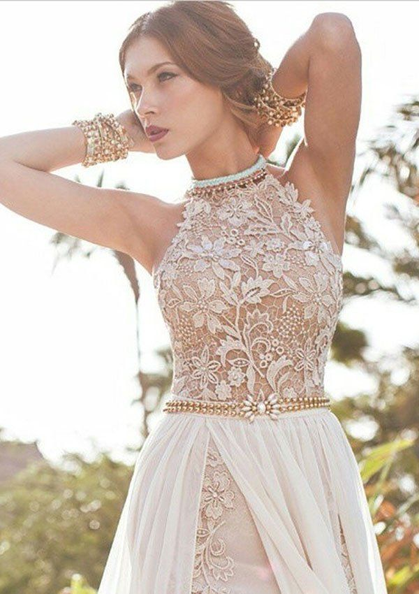 A-line Halter High Neck Lace Bodice Beach Wedding Dress,Ivory Chiffon – diydressonline