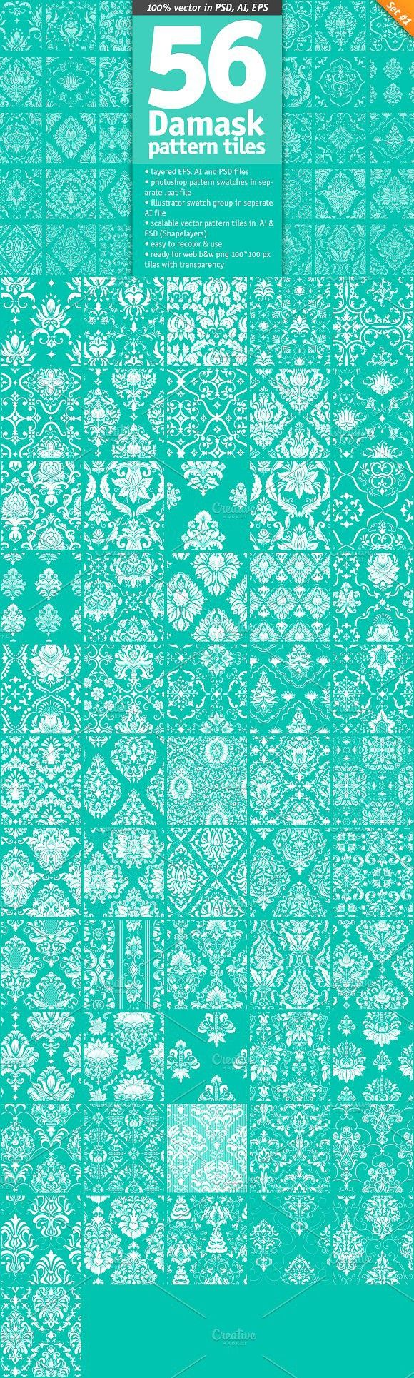 56 Damask Pattern Tiles. Patterns
