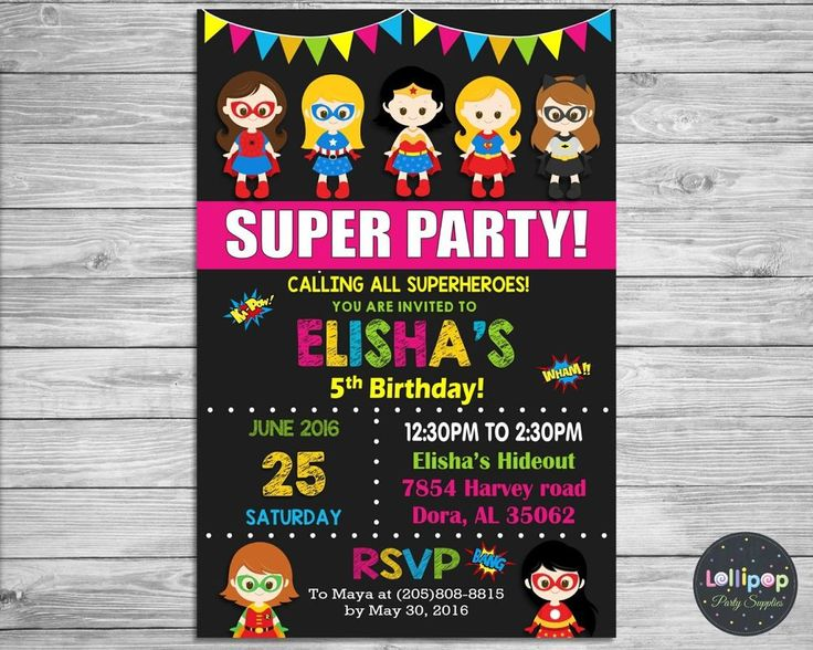 GIRL SUPERHERO INVITATION PERSONALISED BIRTHDAY PARTY CARD INVITE WONDER WOMAN…