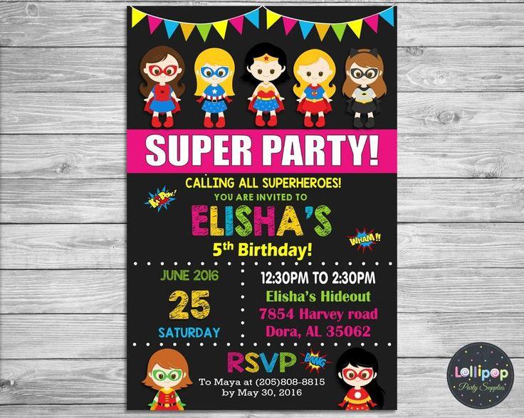 GIRL SUPERHERO INVITATION PERSONALISED BIRTHDAY PARTY CARD INVITE WONDER WOMAN