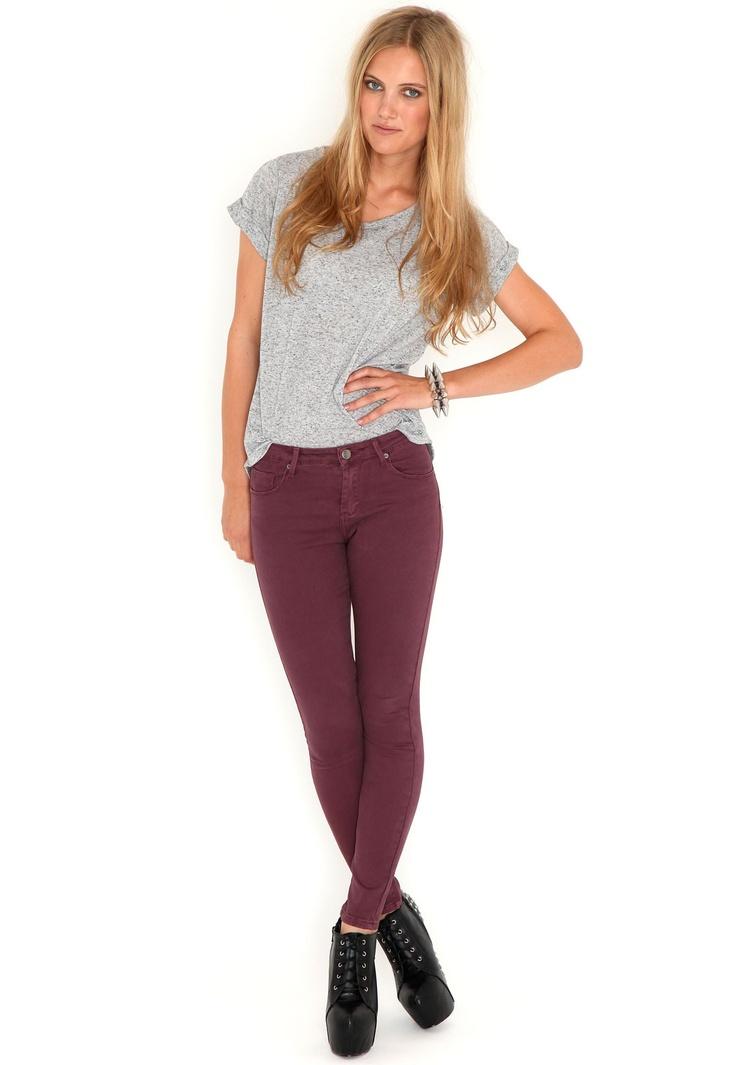 Esme High Waist Skinny Jeans In Burgundy  #MGWINTERWARDROBE