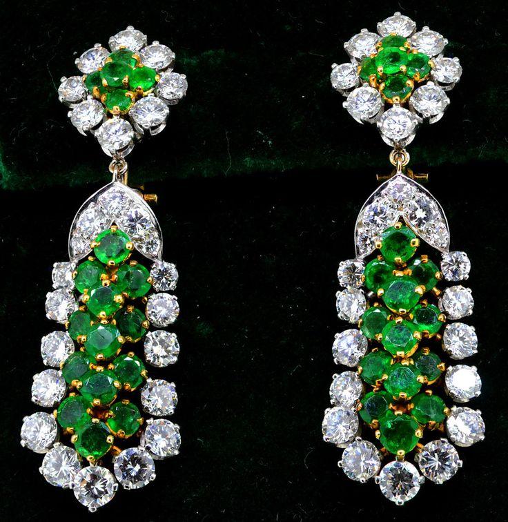 RARE 1950s VOURAKIS Van Cleef & Arpels 10 Cts. Diamond and Emerald Earrings 18K #Vourakis #DropDangle