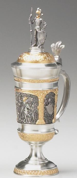 Pewter Gothic Campaign Stein (Authentic German Beer Stein) - The main subject panel of this majestic piece depicts the kingdom's royal knight on horseback, assembling his troops together as they embark on a campaign. | via 1001beersteins.com | #BeerSteins #Stein #Art |