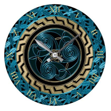Turquoise Black and Gold Celtic Triskele Clock - home gifts ideas decor special unique custom individual customized individualized