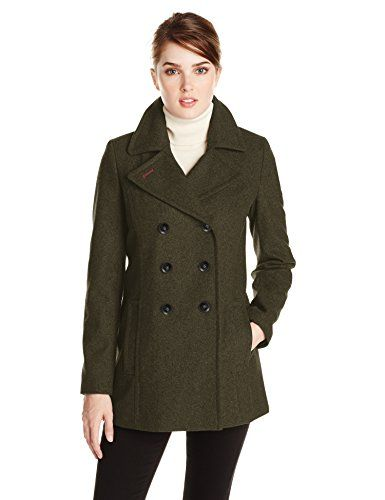Tommy Hilfiger Women's Double Breasted Classic Peacoat, Heather Olive, Small