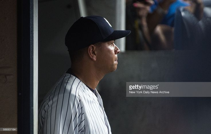 New York Yankees designated hitter Alex Rodriguez (13) is pictured in the Yankee dugout on Friday, August 13, 2016. New York Yankees designated hitter Alex Rodriguez went 1-4 with a double and an RBI in his last game with the Yankees. The New York Yankees defeated the Tampa Bay Rays at Yankee Stadium in the Bronx, NY on August 12, 2016.