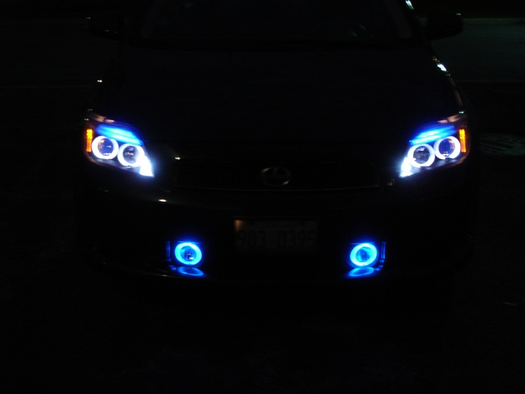 This was my 2004 Scion tc. I had done a lot of work to it. Blue halo headlights and fog lights. I also changed all of the led's in the dash and center consoleto match.