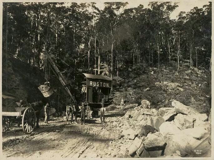 Construction on the Sydney to Newcastle road with a Steam shovel at work in 1927. •State Archives of NSW•