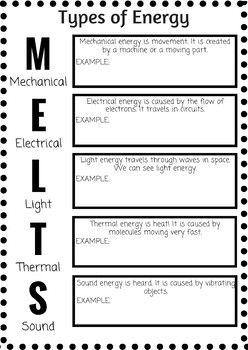 Types of Energy Note Worksheet | Teaching, Notes, Type