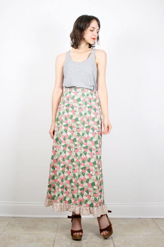 Vintage Hippie Skirt Maxi Skirt 1970s 70s Skirt Boho Skirt Pink Green Beige Patchwork Print Festival Skirt Americana Prairie Skirt M Medium #vintage #etsy #70s #1970s #hippie #prairie #maxi #skirt #patchwork