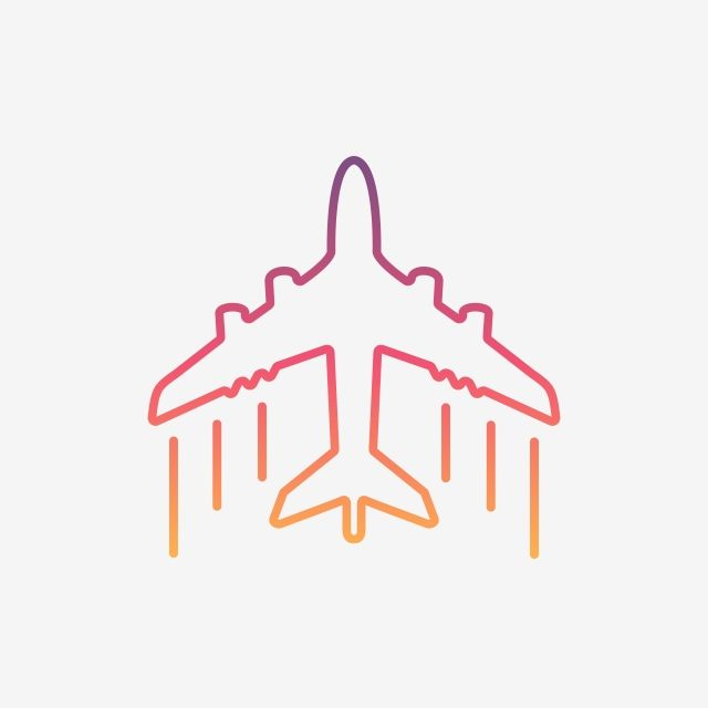 Colorful Airplane Line Icon Abstract Air Aircraft Png And Vector With Transparent Background For Free Download Line Icon Airplane Icon Airplane Vector