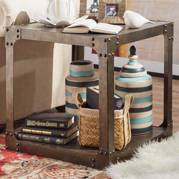 Galena Industrial Modern Rustic Iron Storage Occasional Table by TRIBECCA HOME | Overstock.com Shopping - The Best Deals on Coffee, Sofa & End Tables