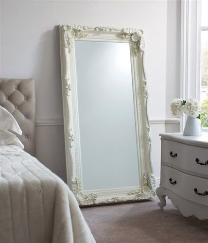 Large cream decorative antique ornate big wall mirror 6ft for Floor mirror white frame