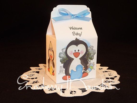 winter penguin baby boy baby shower favor box kits set of 25