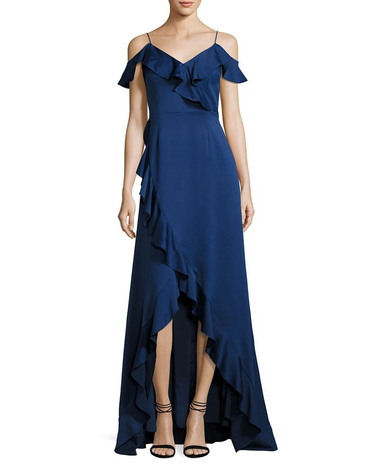 Cold-Shoulder Satin High-Low Ruffle Gown, Navy