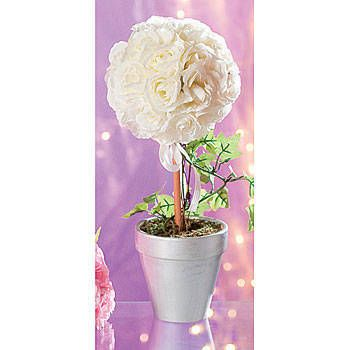 Adorn your tables with this White Rose Topiary Centerpiece. These fabric rose and wooden centerpieces are 14 inches high by 5 1/2 inches.  Snow White and Rose Red Fairytale Story