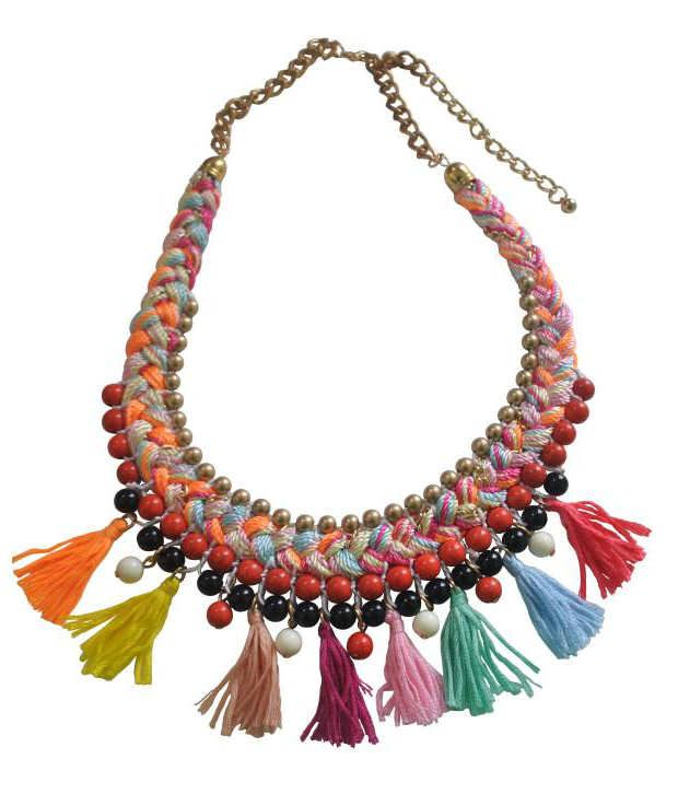 Contemporary Thread Tassels Beads Handmade Necklace.