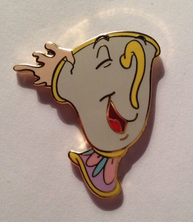 Rare Disney Very Happy CHIP from Beauty and the Beast Official 2002 Pin Trading