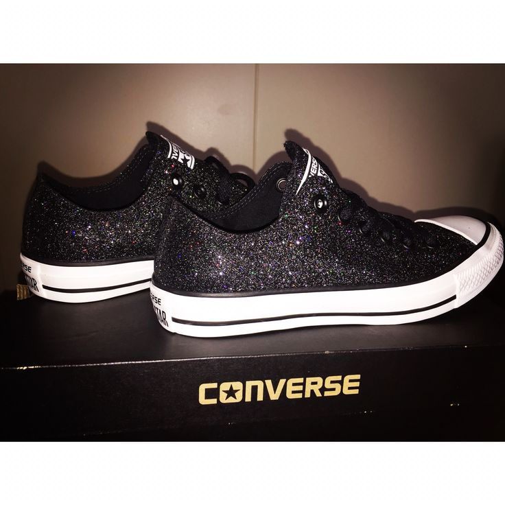 Black sparkly Converse, just got these
