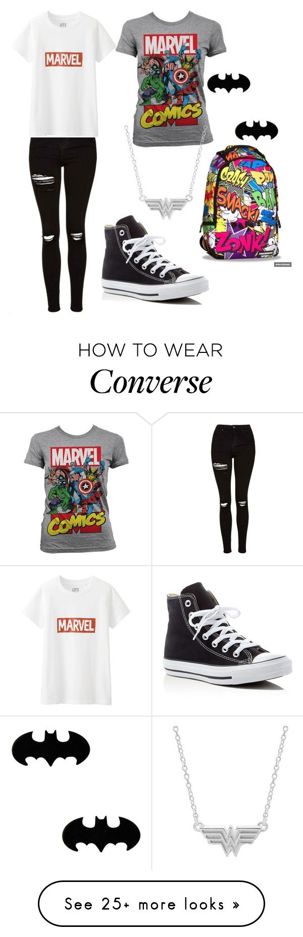 """Comics"" by nyxqueen on Polyvore featuring Topshop, Uniqlo, Marvel Comics and Converse"