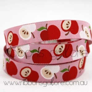 apples on pink ribbon (15mm wide) [per metre] - $3.90 : Ribbons Galore, your online store for the best ribbons #ribbonsgalore #ribbons