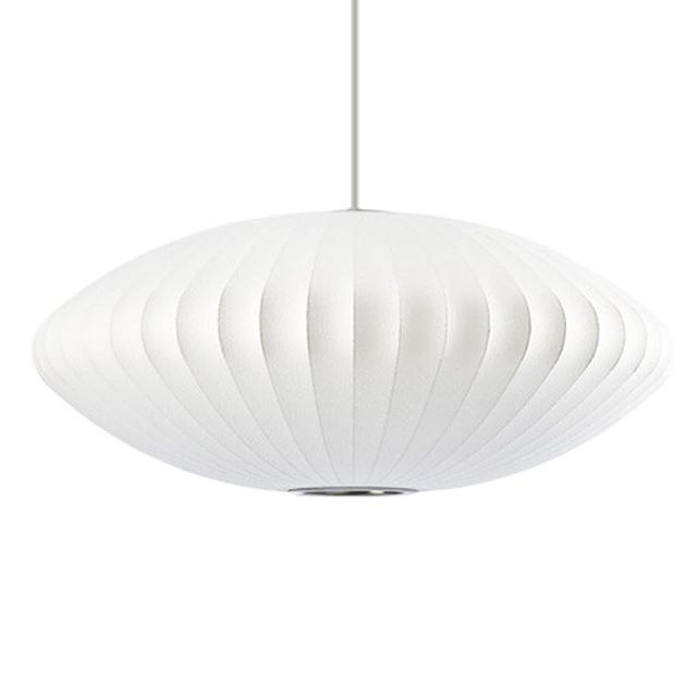 Back in 1947, George Nelson was refitting his office and spotted a beautiful silk-covered #lamp from Sweden. Unfortunately he couldn't justify the cost of the lamp for his office, which got him thinking about creating his own low cost lighting solutions.  He remembered a photograph of Liberty ships being put into storage (mothballed), where plastic was sprayed over a metal framework, to provide a lightweight protective plastic barrier.  This inspired him to create a whole range of lamps…