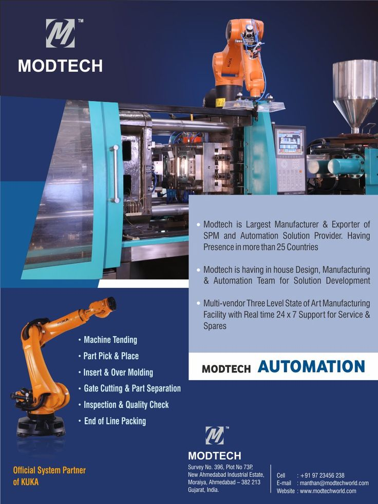 Modtech Automation Solutions for Plastic Industry. Plastic Machine Tending with Kuka Robot.