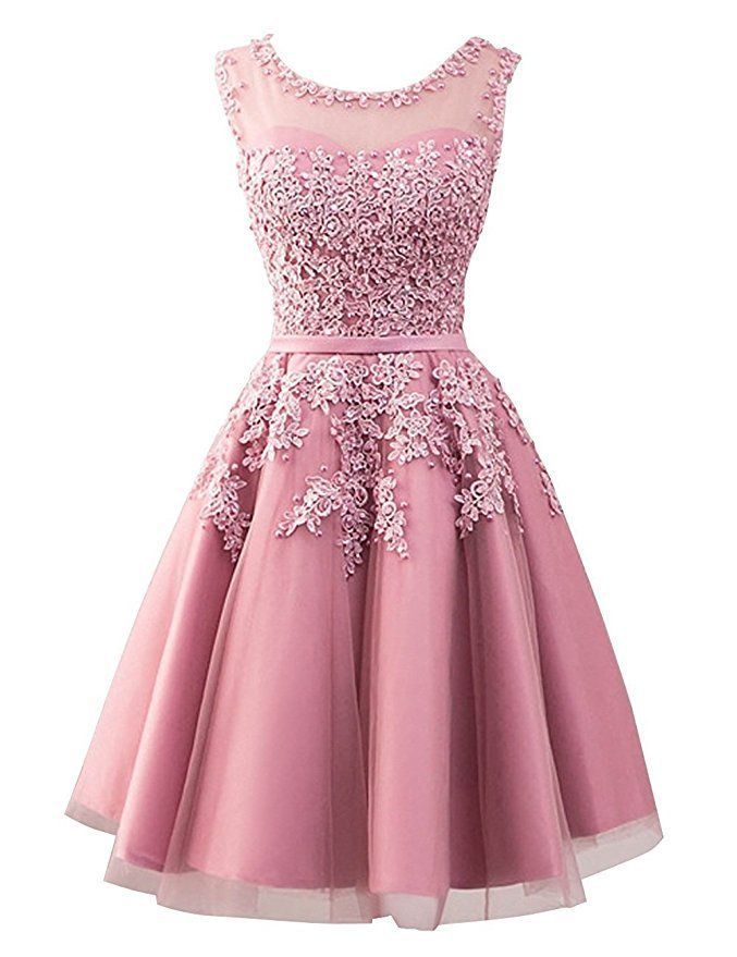 Pink Short Homecoming Dresses, Tulle Short Bridesmaid Dresses, Lovely Formal Dresses