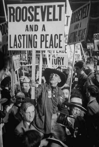 Roosevelt supporters demonstrate at the 1944 Democratic National Convention in Chicago where he was nominated for a fourth term. By Alfred Eisenstaedt.